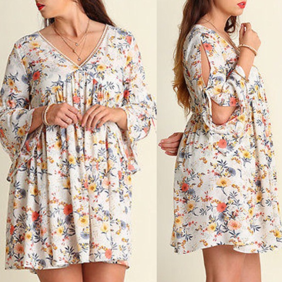 NWT XL 1X 2X Umgee Plus Size Navy Floral 3//4 Sleeve Keyhole Boho Dress Tunic